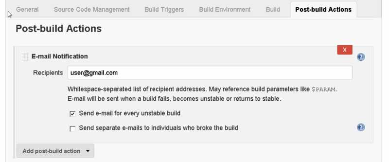 Jenkins Job Post-build Actions - Email Notifications