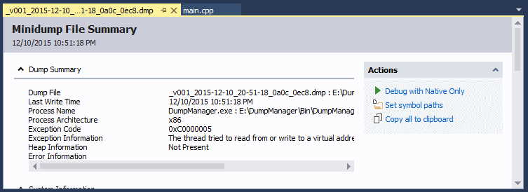The debugger with loaded dump file